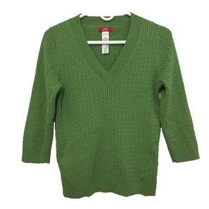 Anne Klein Sport Green V-Neck Sweater